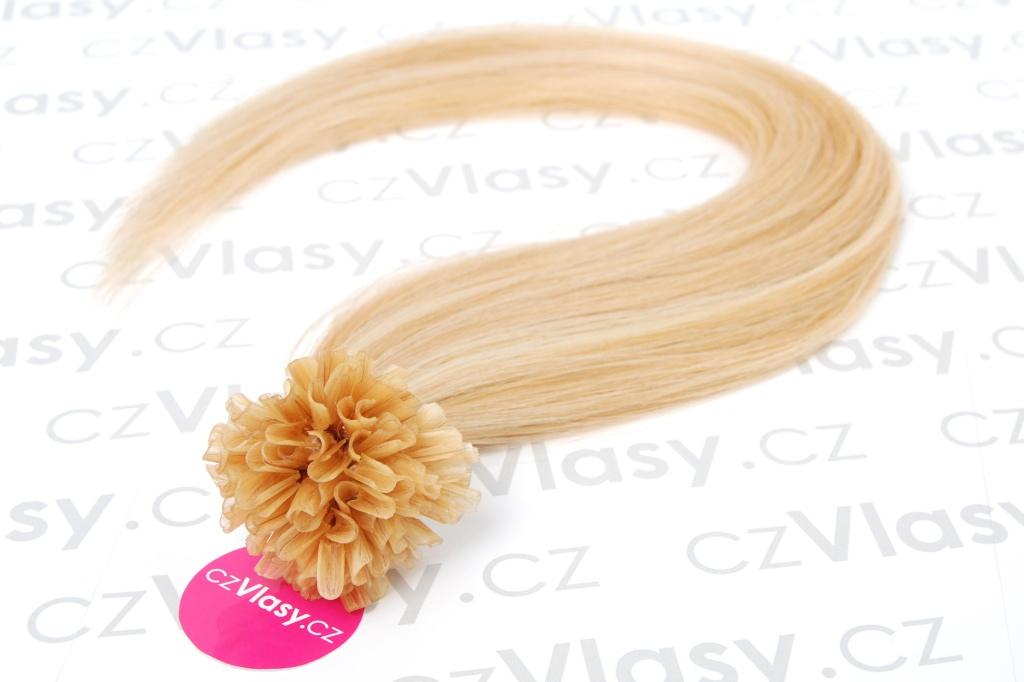 Asijské vlasy na metodu keratin melír 27/613 Délka: 51 cm, Hmotnost: 0,5 g/pramínek, REMY kvalita