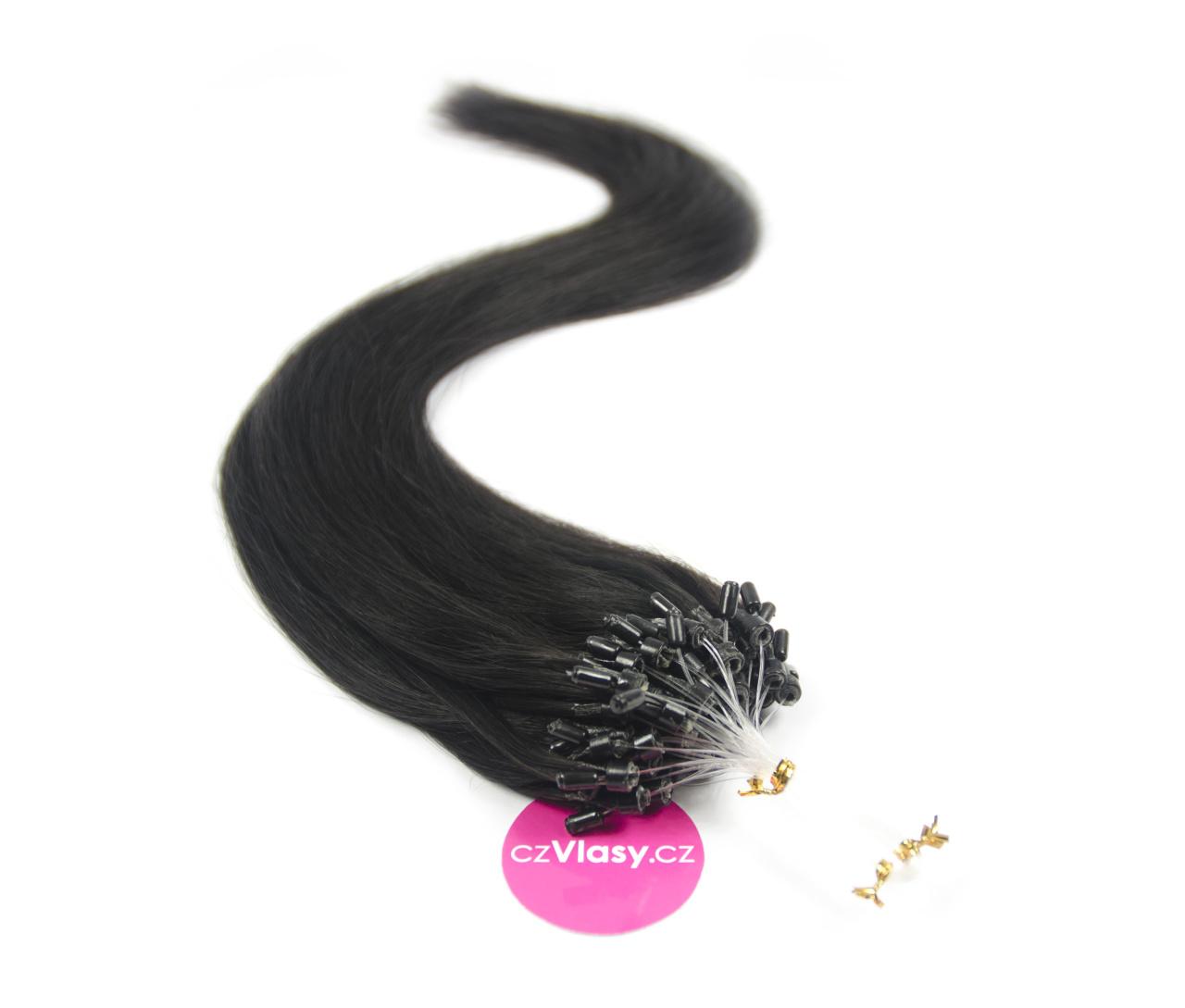 Indické vlasy na metodu micro-ring odstín 1A Délka: 60 cm, Hmotnost: 1 g/pramínek, REMY