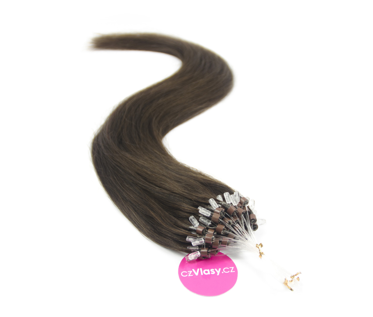 Indické vlasy na metodu micro-ring odstín 2 Délka: 60 cm, Hmotnost: 1 g/pramínek, REMY