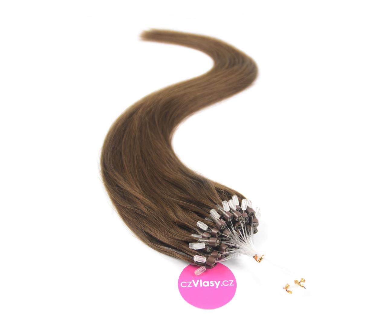 Indické vlasy na metodu micro-ring odstín 4 Délka: 60 cm, Hmotnost: 1 g/pramínek, REMY