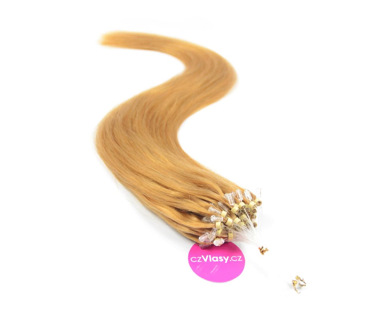 Indické vlasy na metodu micro-ring odstín 27 Délka: 50 cm, Hmotnost: 0,8 g/pramínek, REMY