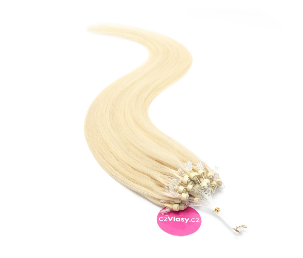 Indické vlasy na metodu micro-ring odstín 613 Délka: 60 cm, Hmotnost: 1 g/pramínek, REMY