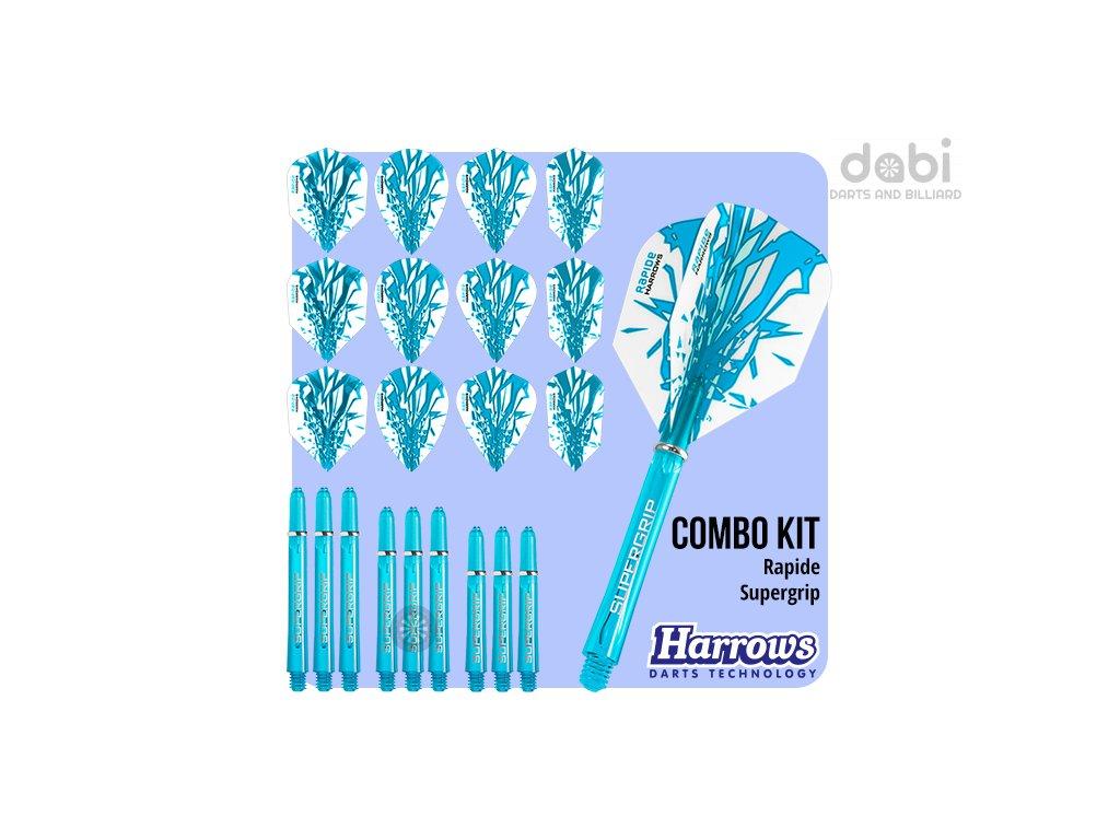 harrows rapide combo kit aqua blue flights shafts