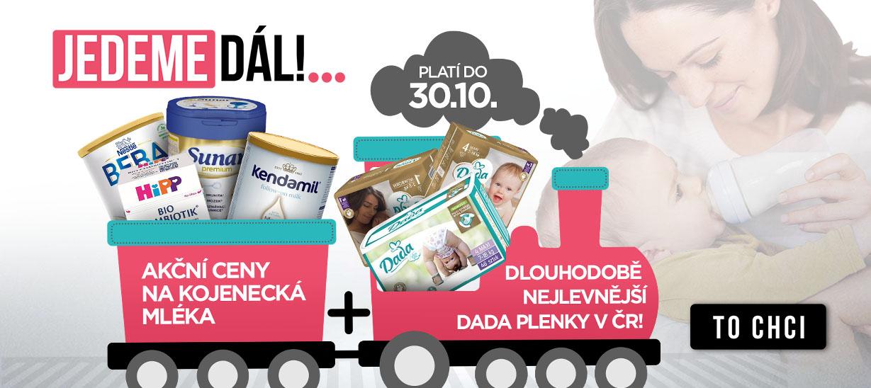 Jedeme dál, akce pokračuje. Dlouhodobě nejlevnější DADA plenky v ČR a k tomu akční ceny na kojenecká mléka
