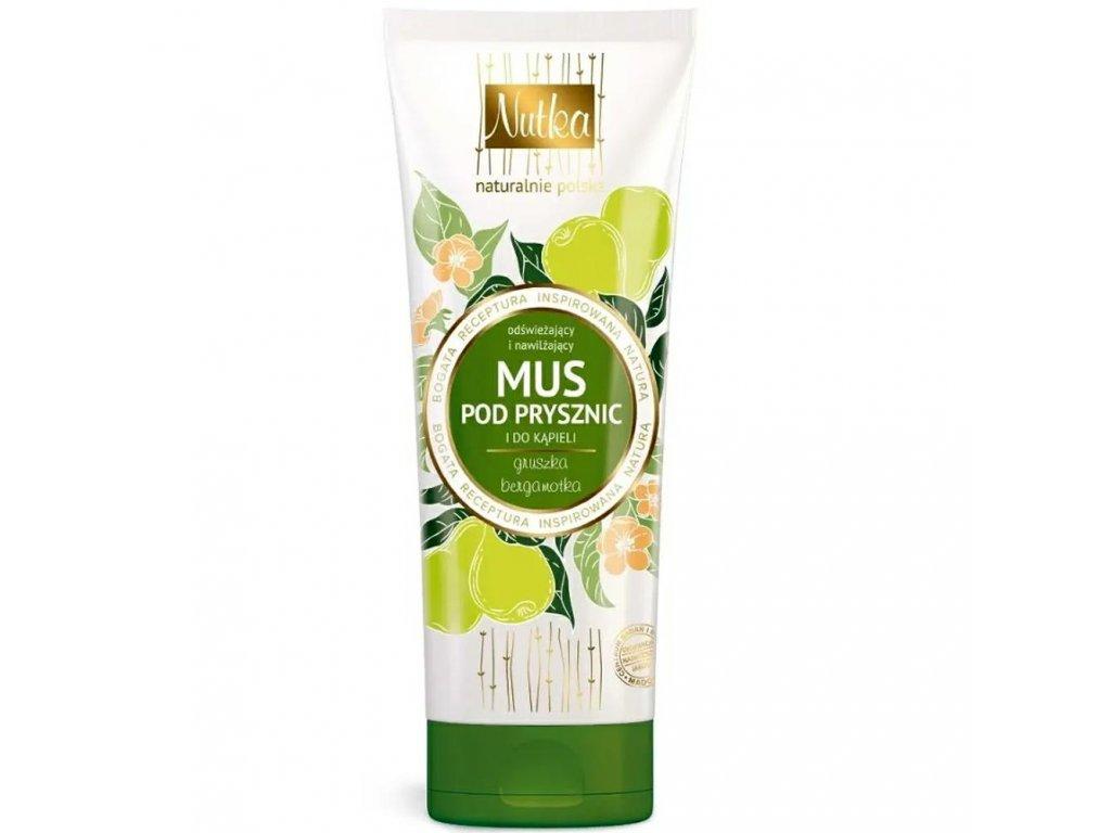 299765 nutka natural cosmetics sprchova a koupelova pena osvezujici a hydratacni hruska a bergamot 222ml