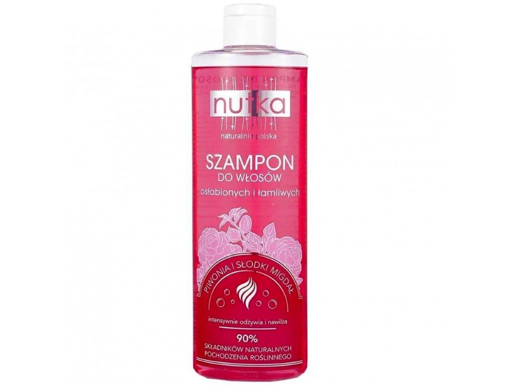 299774 nutka natural cosmetics vlasovy sampon pro poskozene a suche vlasy vyzivujici a hydratacni pivonka a sladke mandle 400ml