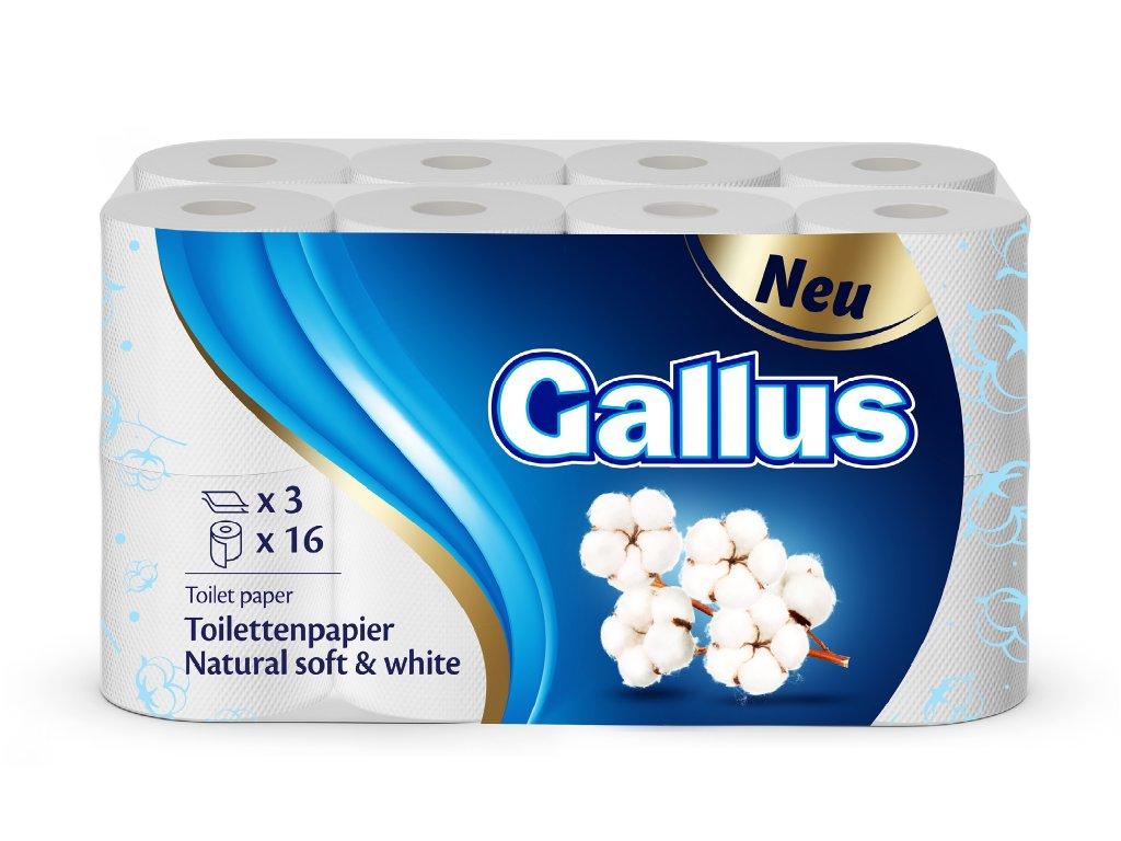 GALLUS, Toaletní papír Natural soft&white, 3-vrstvý, 16ks
