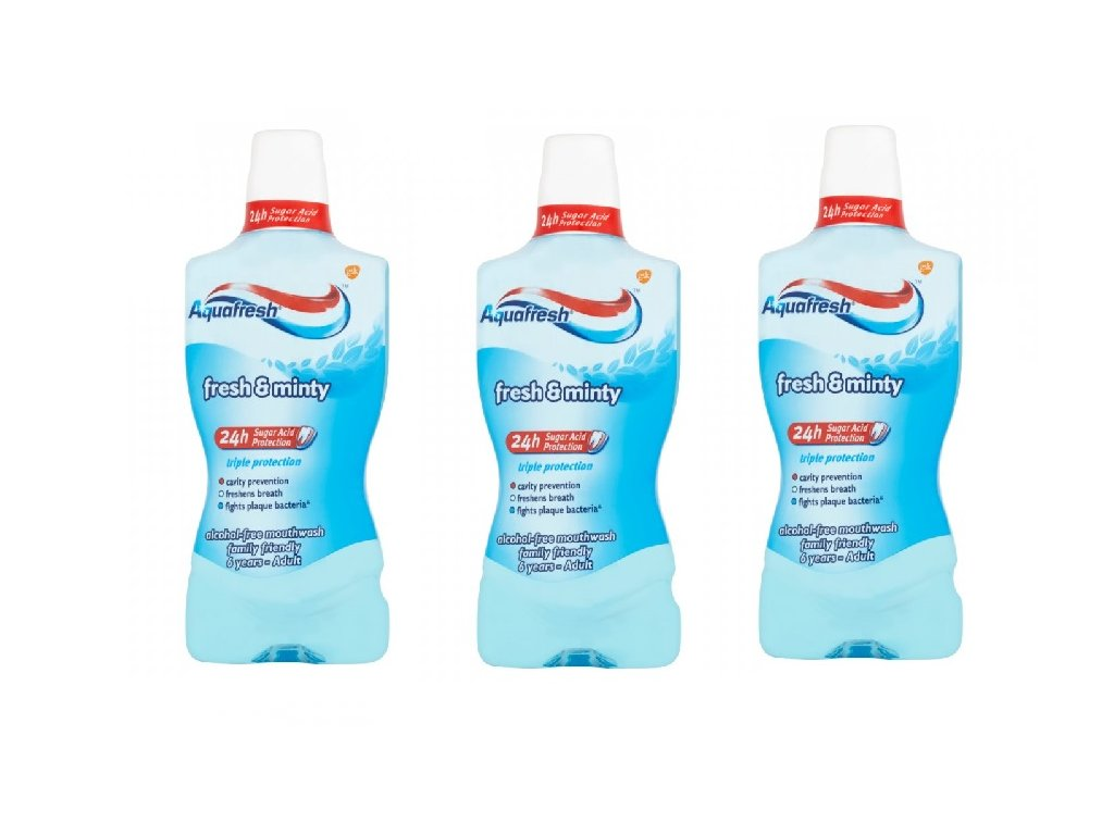 3 pack Ústní voda Aquafresh extra fresh 500ML