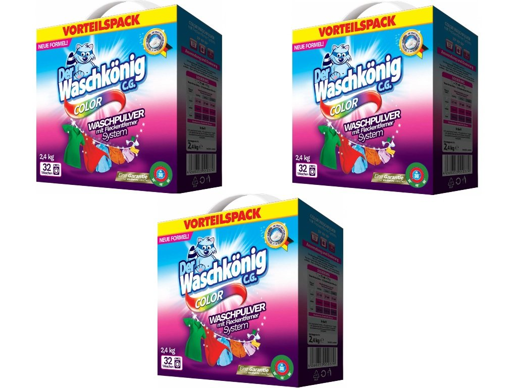 3 pack Waschkonig Color prací prášek 2,4 kg 32 PD