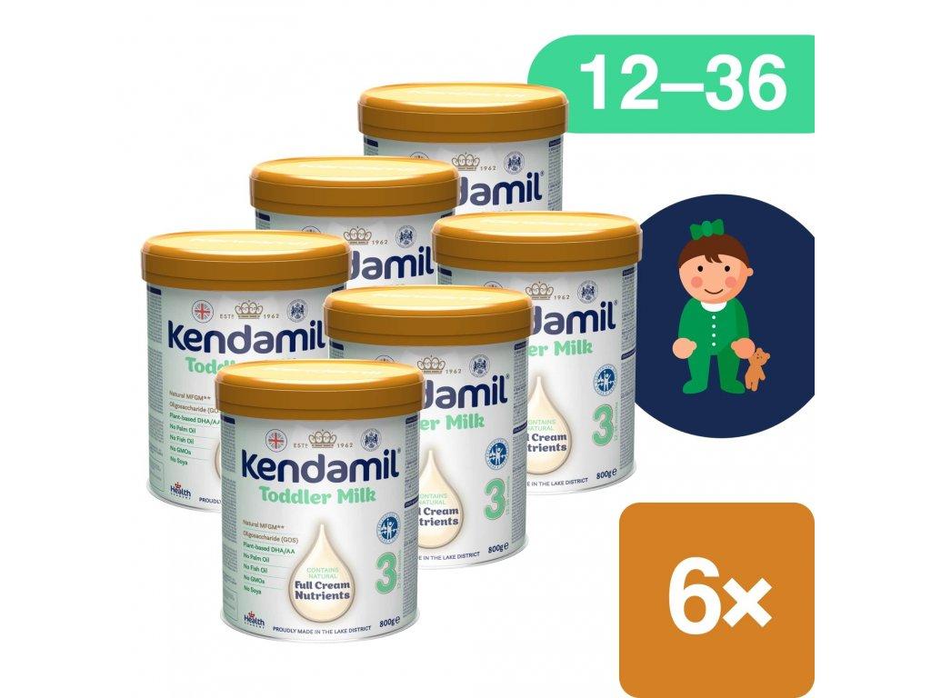 6pack Kendamil, Batolecí mléko 3 DHA (6x800g)