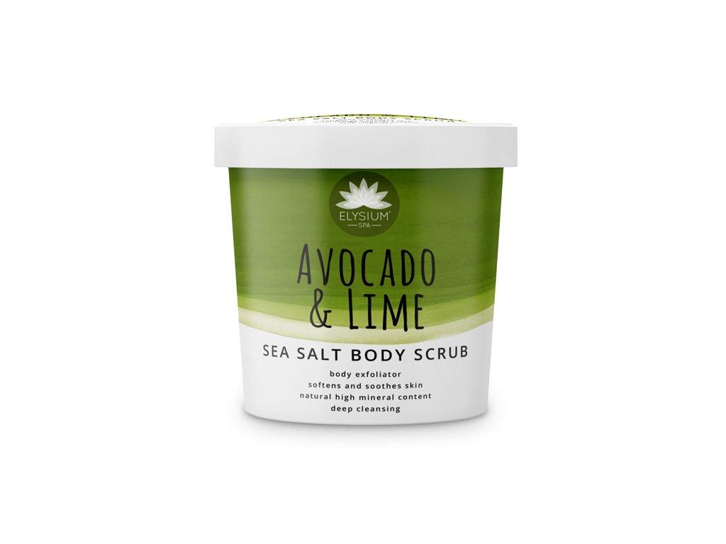 Elysium Spa Avocado Lime Sea Salt Body Scrub 200g clear