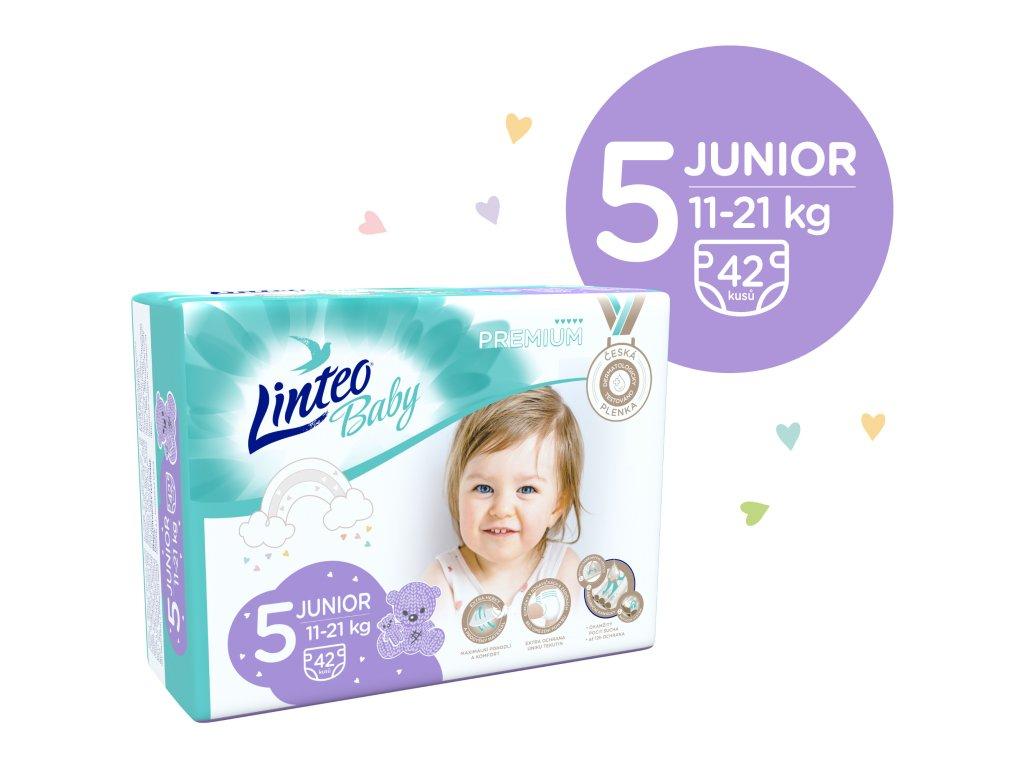 LINTEO BABY Prémiové JUNIOR č.5 11-21 kg 42 ks