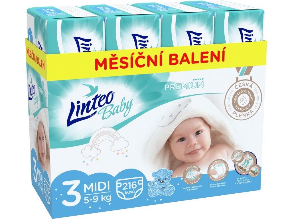 LINTEO Plenky Baby Prémium MIDI (5-9 kg) 216 ks