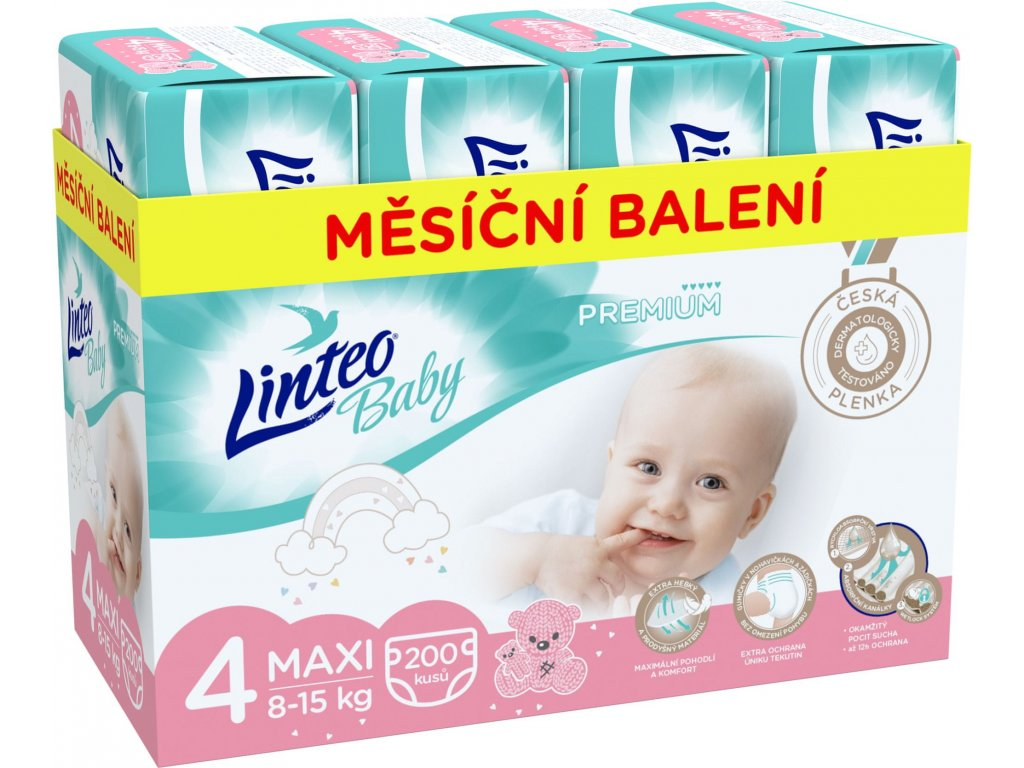 LINTEO Plenky Baby Prémium MAXI (8-15 kg) 200 ks