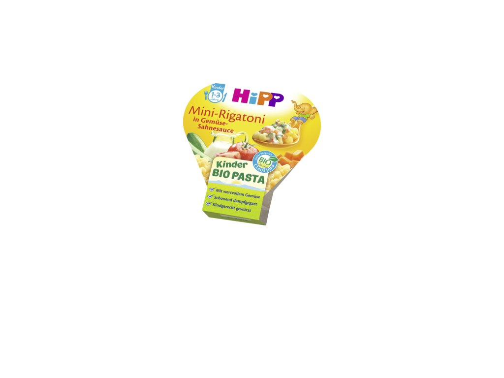 34393 hipp detsky talir mini rigatoni se zelenino smetanovou omackou 250g