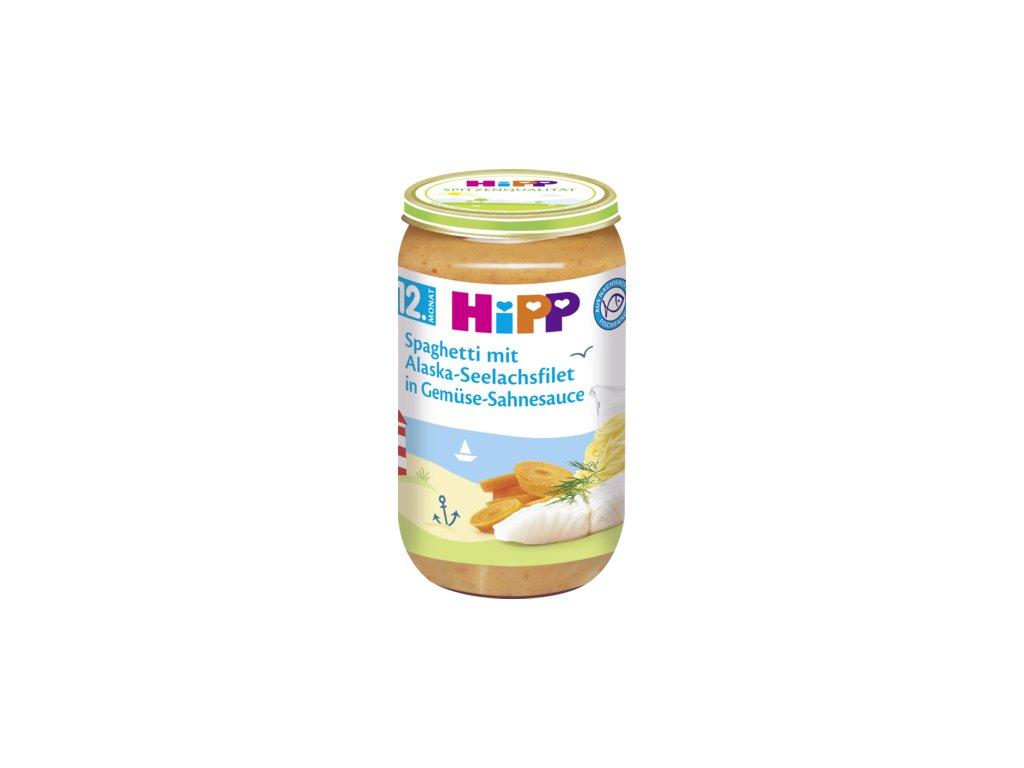 34894 hipp detske menu spagety s filety z tresky a morskeho lososa zeleninova smetanova omacka 12m 250g