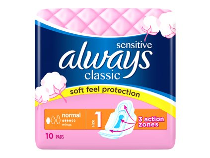 always classic sensitive normal hygienicke vlozky s kridelky 10 ks 48646