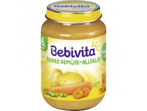 BEBIVITA, Jemná zelenina, karotka, brambor, hrášek, 6M, 190g