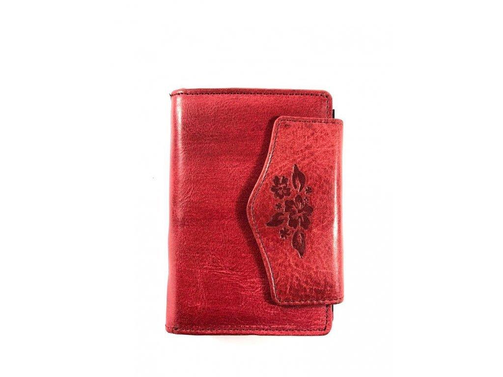 Dámská kožená peněženka - černá (Barva Modrá)