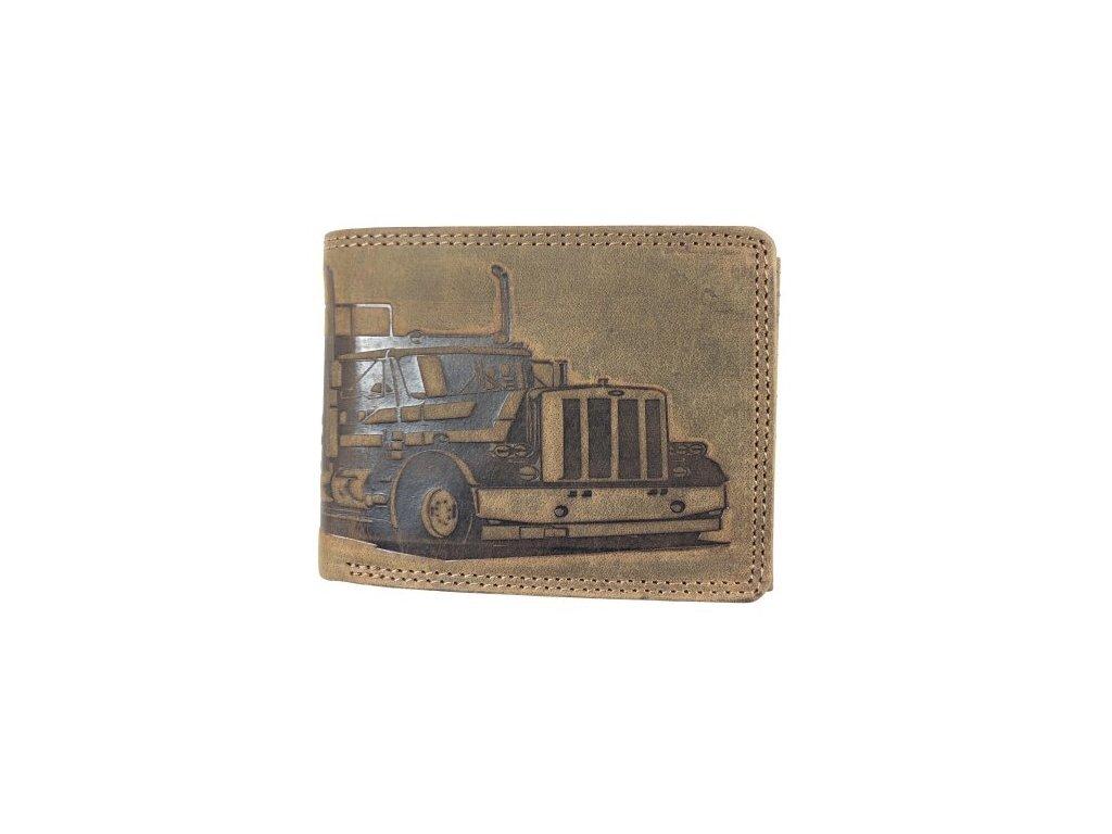 Celokožená peněženka s kamionem - hnědá