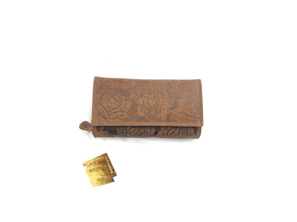 Dámská celokožená peněženka Roberto s růží (Barva hnědá)