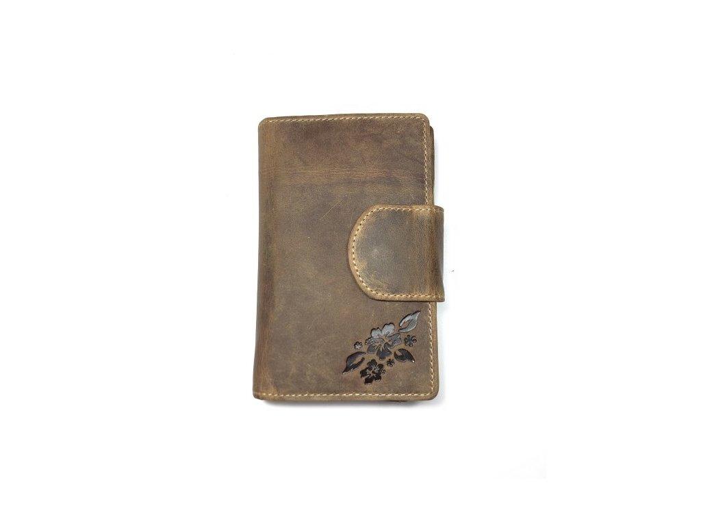 Dámská kožená peněženka - hnědá