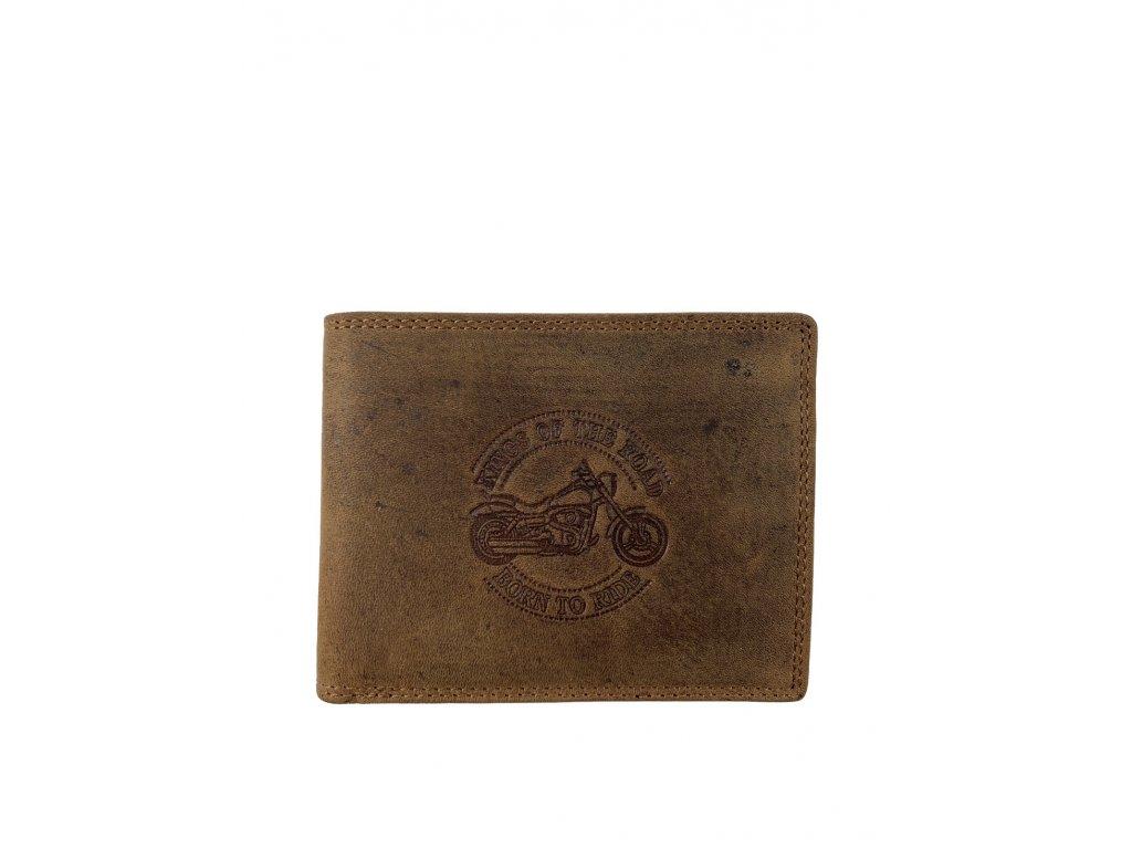 Kožená peněženka s motorkou - hnědá