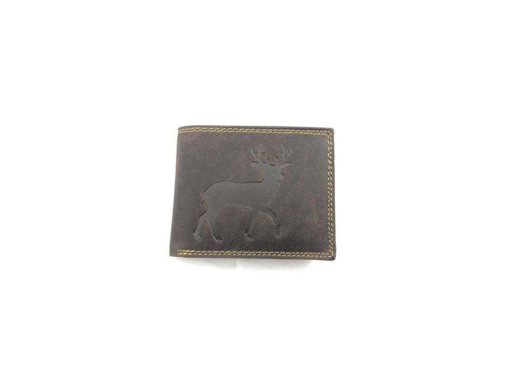 Celokožená peněženka s jelenem - hnědá (Barva Světle hnědá)