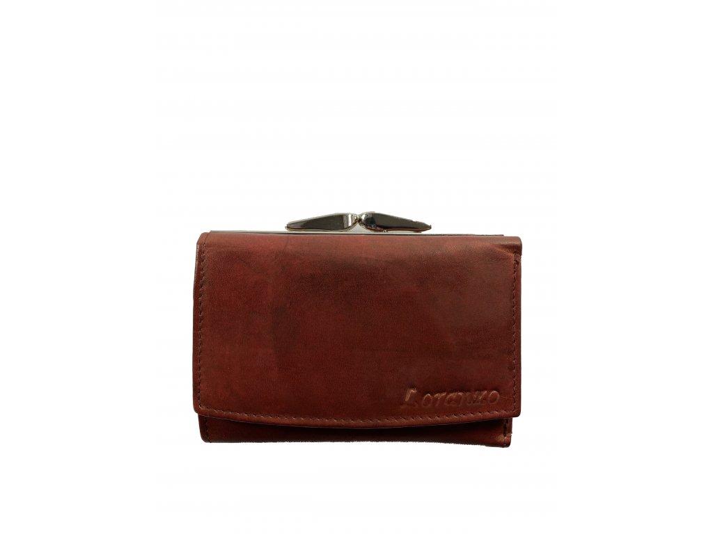 Dámská kožená peněženka - červená (Barva Hnědá)