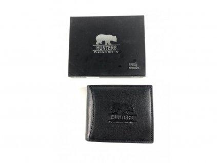 Celokožená peněženka Hunters - černá (Barva Červená)