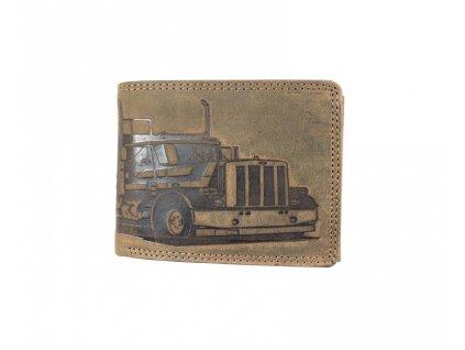 Celokožená peněženka s kamionem - hnědá (Barva Světle hnědá)