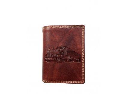 Luxusní kožená peněženka s kamionem - červená (Barva červená)