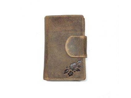 Dámská kožená peněženka - hnědá (Barva Tmavě hnědá)