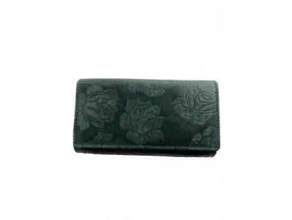 Dámská celokožená peněženka s růží - zelená (Barva Zelená)