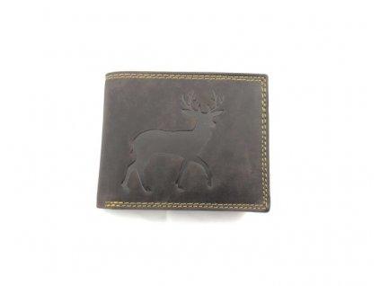 Celokožená peněženka s jelenem - hnědá