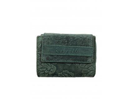 Dámská kožená peněženka s růží - zelená
