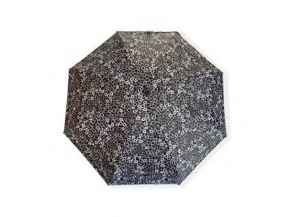 Mini skládací deštník s kolečky - černá