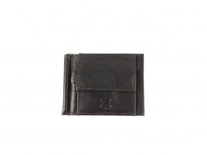 Kožená dolarovka peněženka - černá (Barva Šedá)