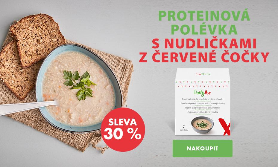 Proteinová polévka s nudličkami z červené čočky