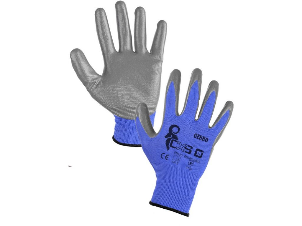 Povrstvené rukavice CERRO, modro-šedé