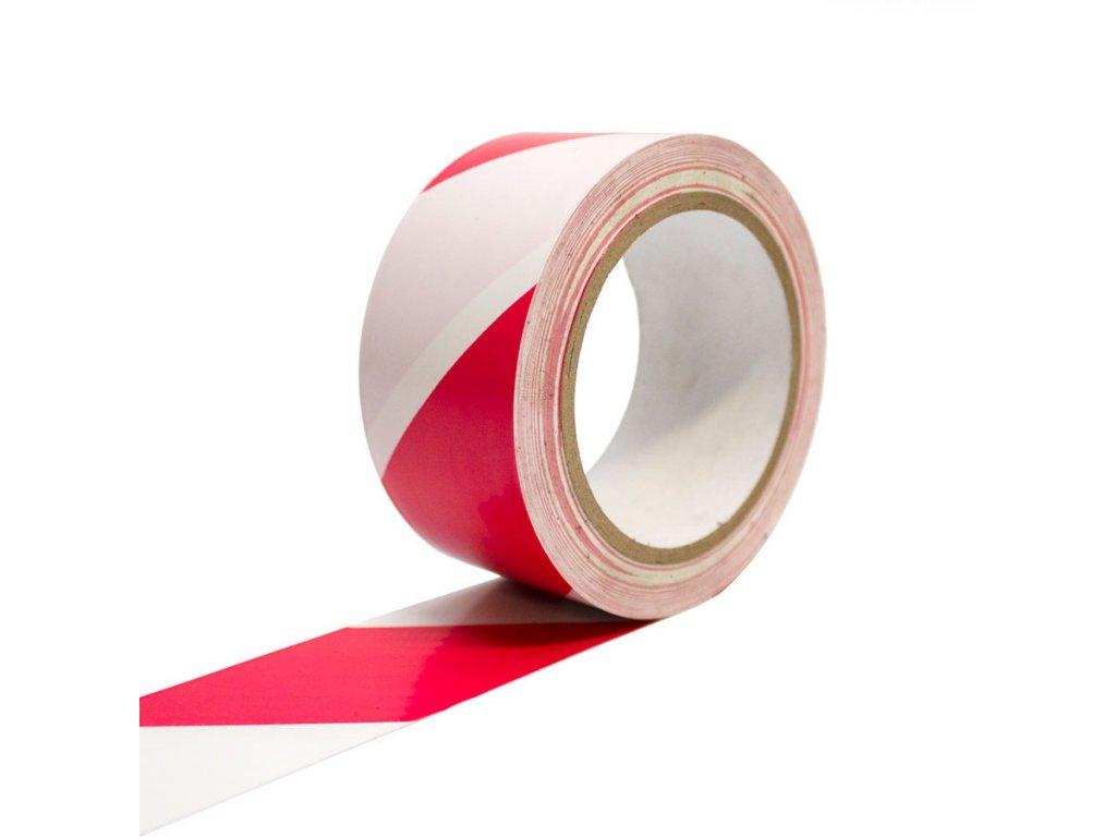 Podlahová vyznačovací páska 50 mm x 33 m - bíločervená