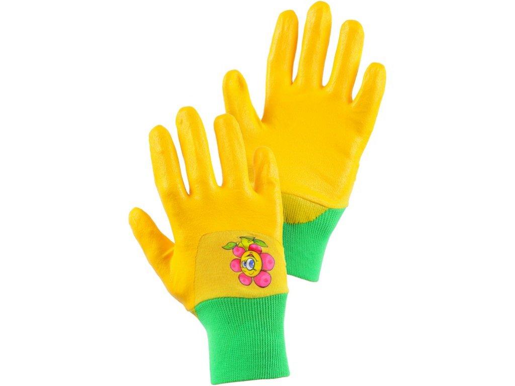 Rukavice DRAGO, dětské, máčené v nitrilu, žluté