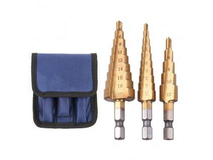 Sada stupňovitých kuželových vrtáků HSS 3 20mm2