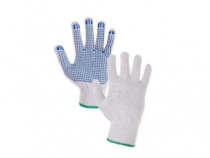 Textilní rukavice FALO, s PVC terčíky, bílo-modré