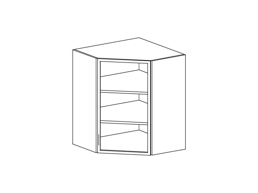 Kuchyňská vitrína horní rohová Domel Lesk G-60/72/N-Pr/Lw