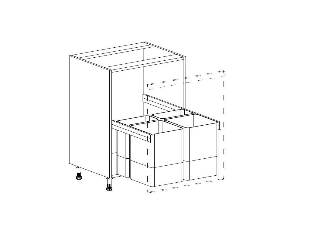 Kuchyňská skříňka spodní Domel Lesk D-60/82/Z se zásuvkou na koš