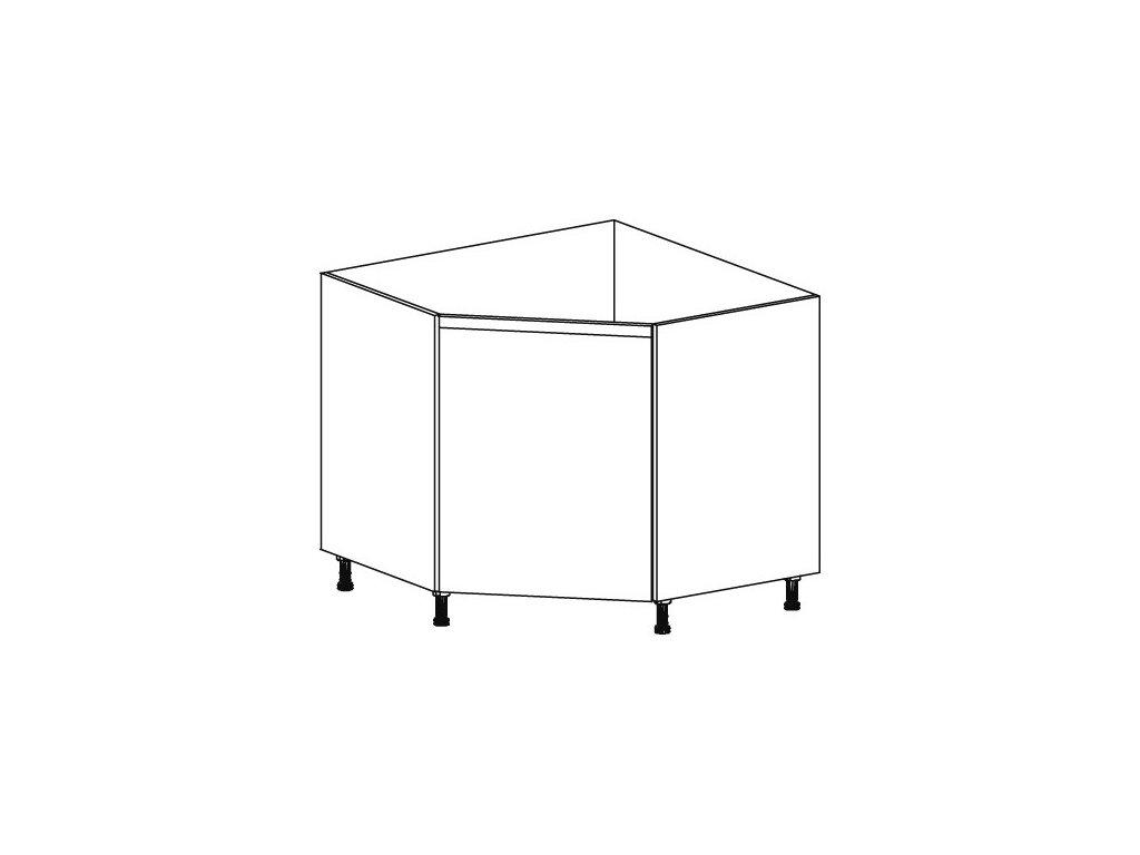 Kuchyňská skříňka spodní rohová Domel Lesk D-90/82/Z/N