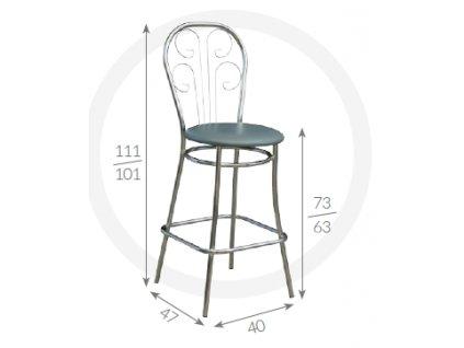 Barová židle Cezar Metpol 111/101 x 73/63 x 47x 40