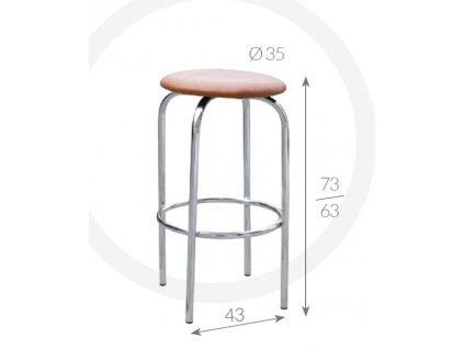 Barová židle Eryk Metpol  73/63 x 43