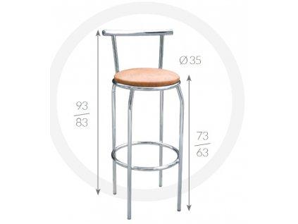 Barová židle Kuba Metpol  93/83 x 73/63